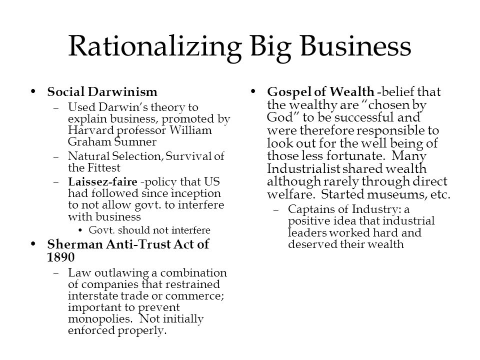 Rationalizing Big Business