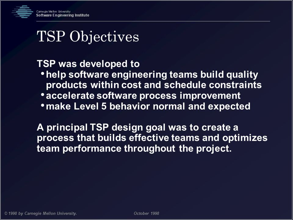TSP Objectives TSP was developed to