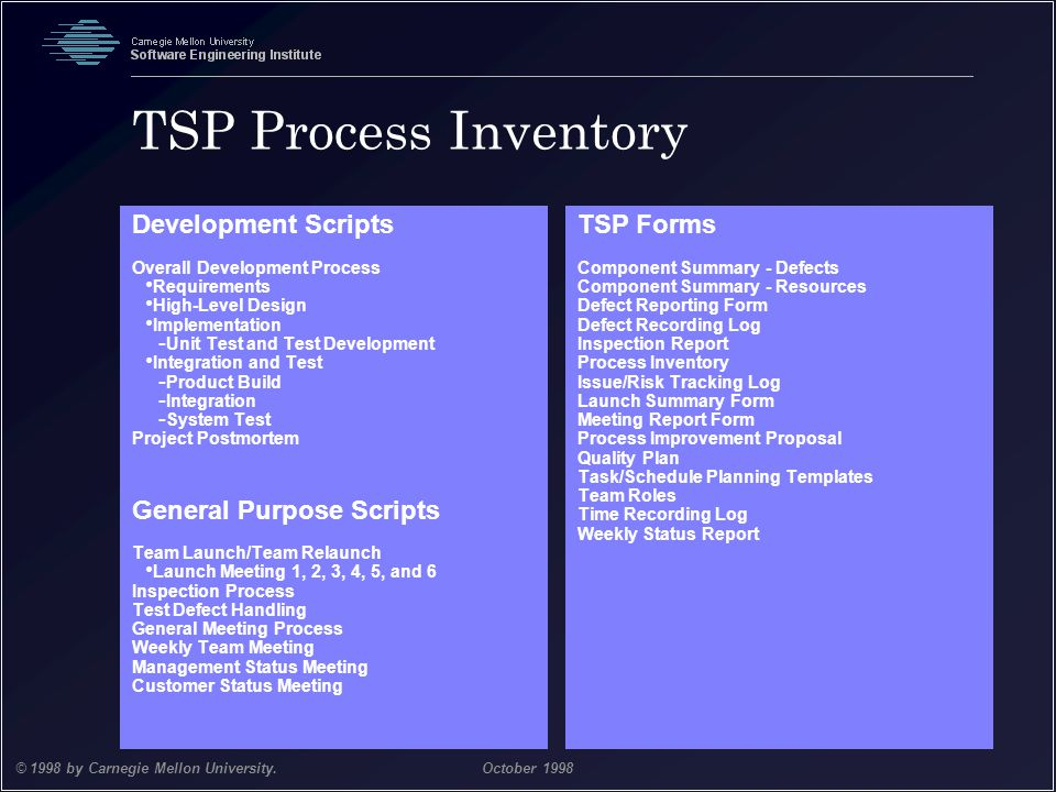TSP Process Inventory Development Scripts General Purpose Scripts