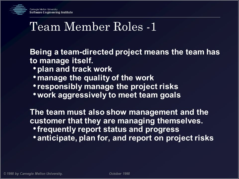 Team Member Roles -1 Being a team-directed project means the team has to manage itself. plan and track work.