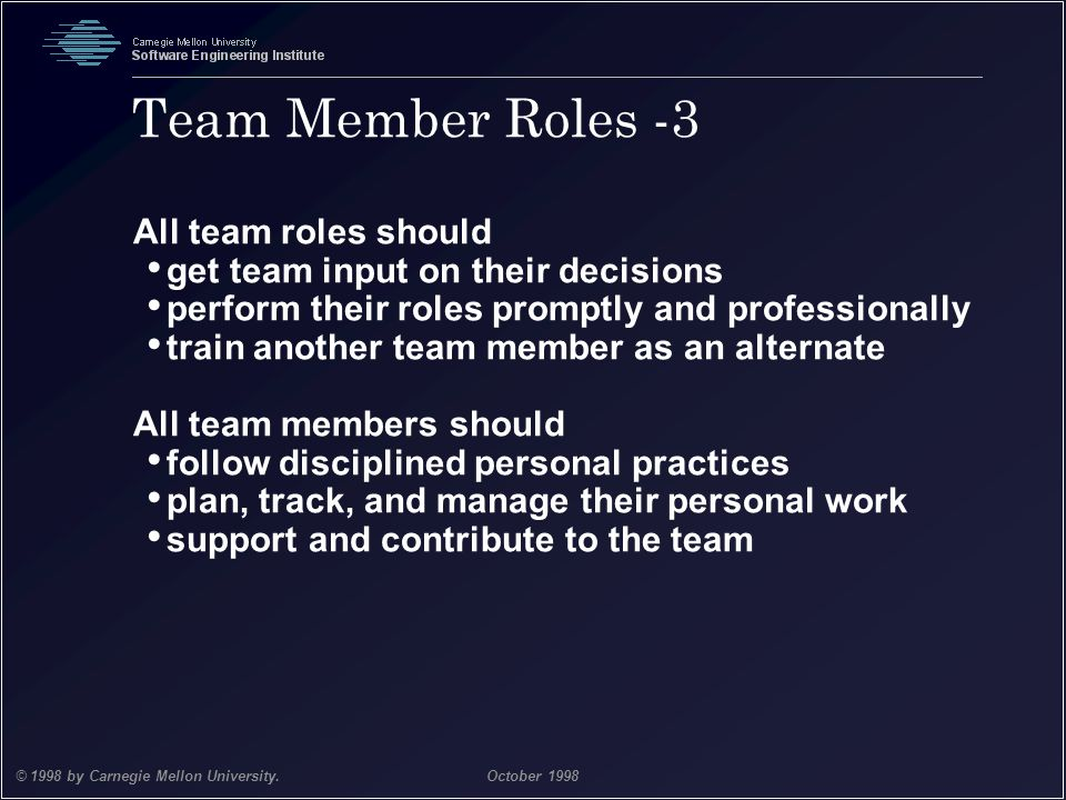 Team Member Roles -3 All team roles should