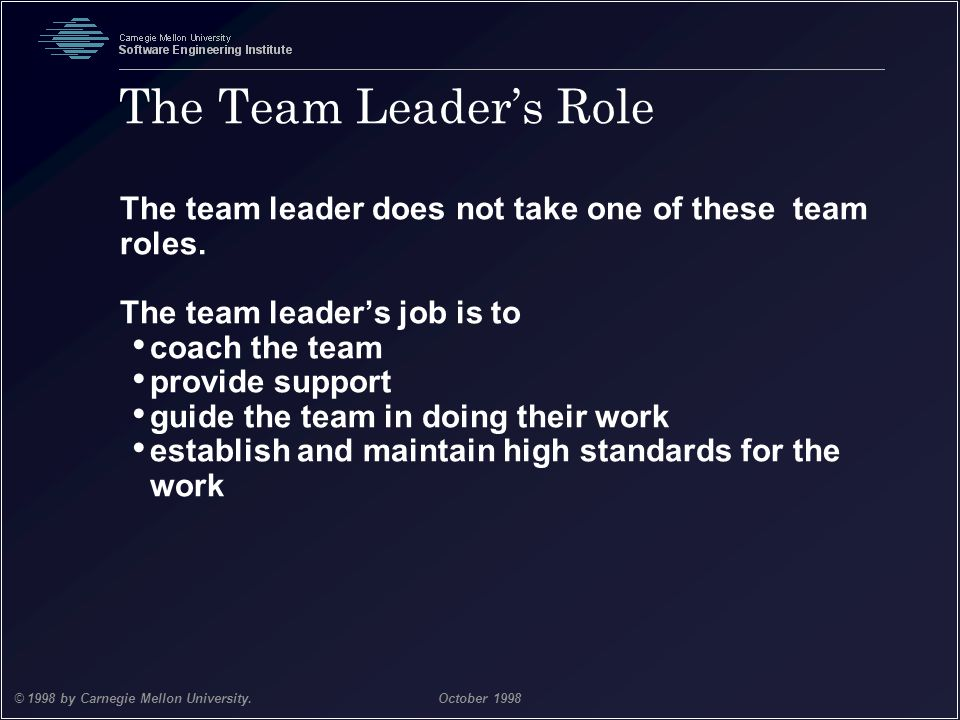 The Team Leader's Role The team leader does not take one of these team roles. The team leader's job is to.