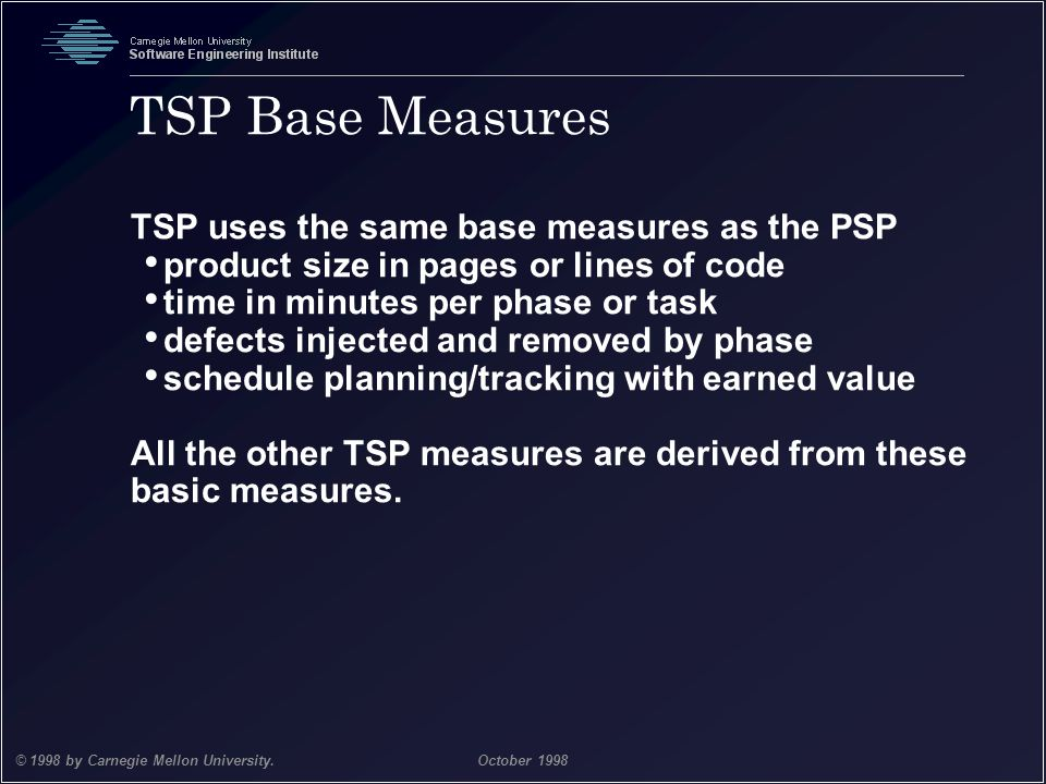 TSP Base Measures TSP uses the same base measures as the PSP