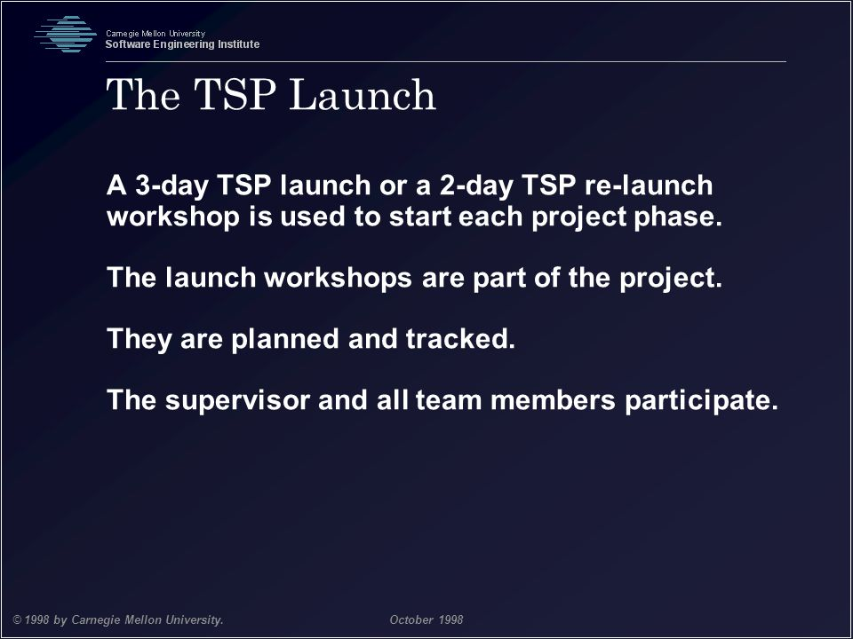 The TSP Launch A 3-day TSP launch or a 2-day TSP re-launch workshop is used to start each project phase.