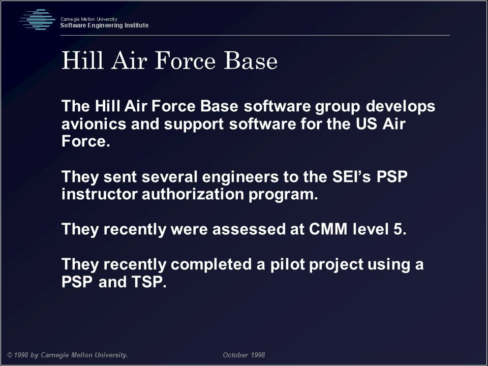 Hill Air Force Base The Hill Air Force Base software group develops avionics and support software for the US Air Force.