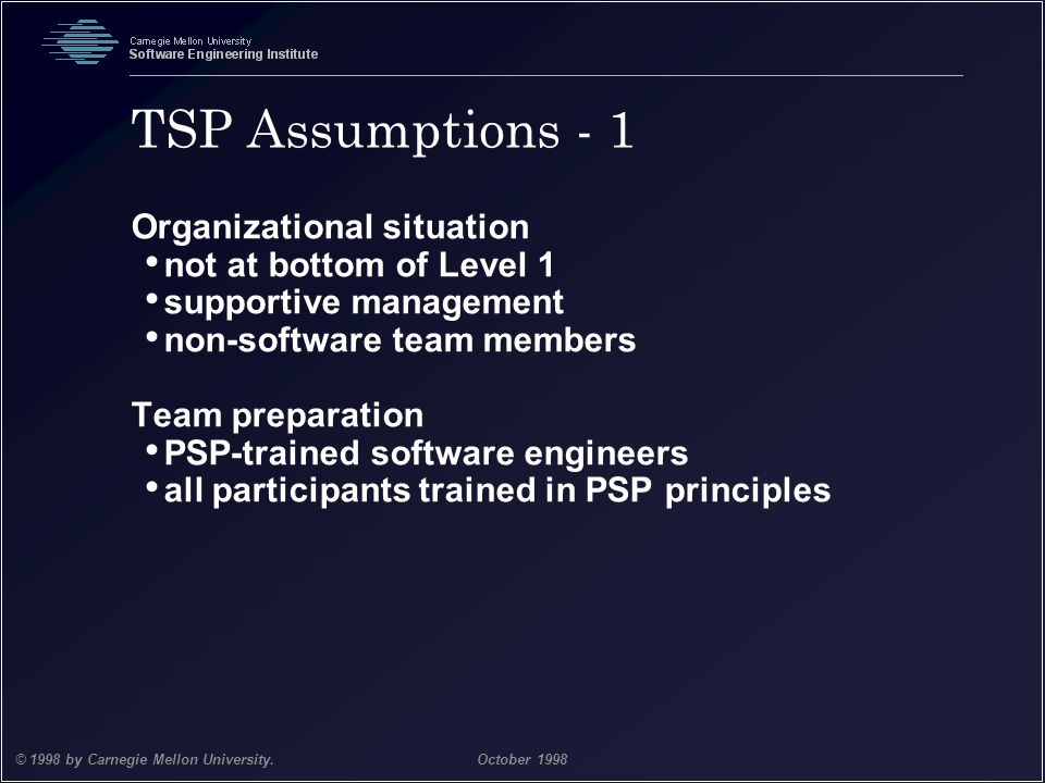 TSP Assumptions - 1 Organizational situation not at bottom of Level 1