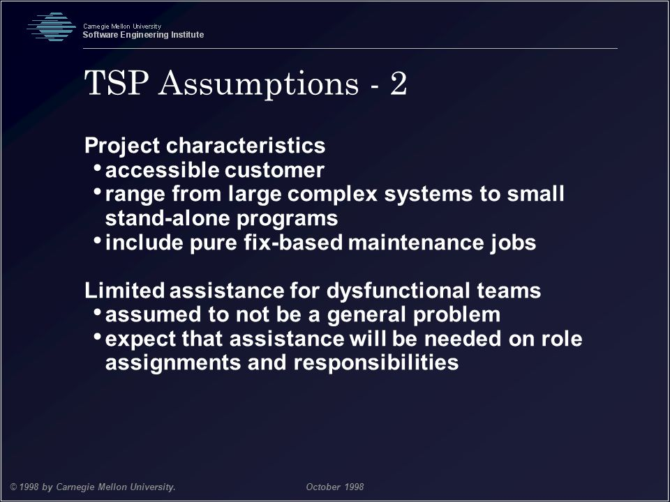 TSP Assumptions - 2 Project characteristics accessible customer