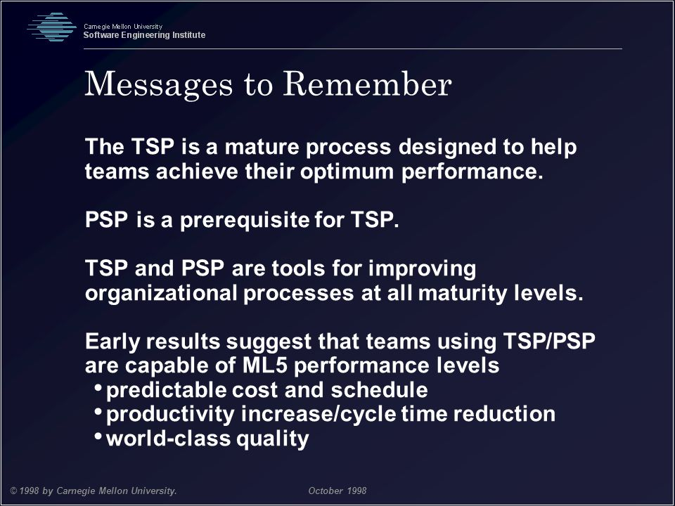Messages to Remember The TSP is a mature process designed to help teams achieve their optimum performance.
