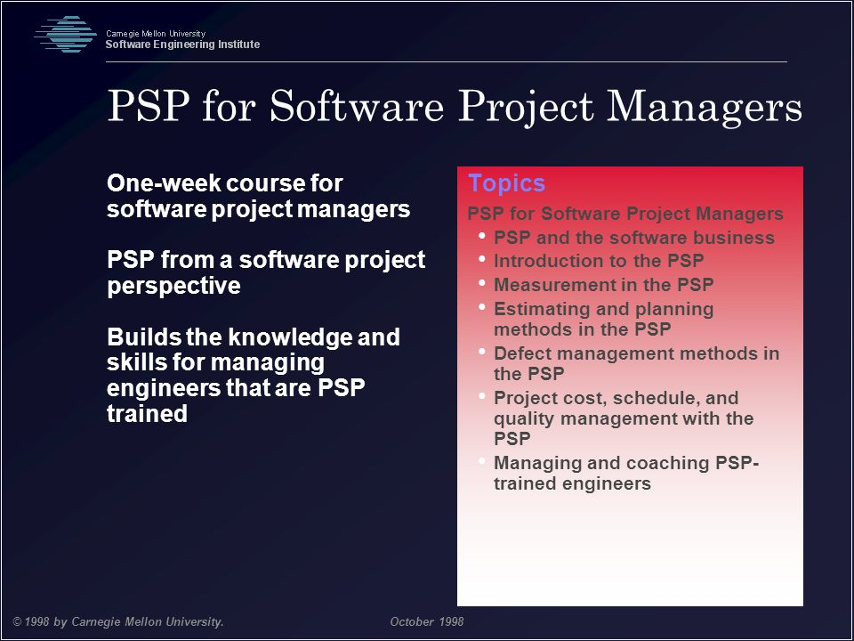 PSP for Software Project Managers