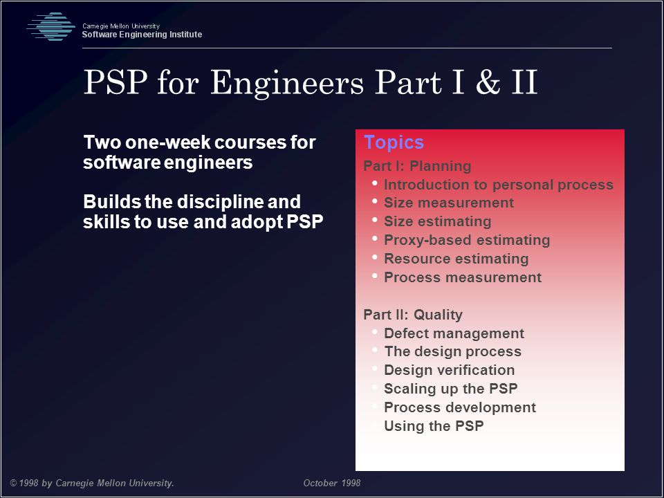PSP for Engineers Part I & II
