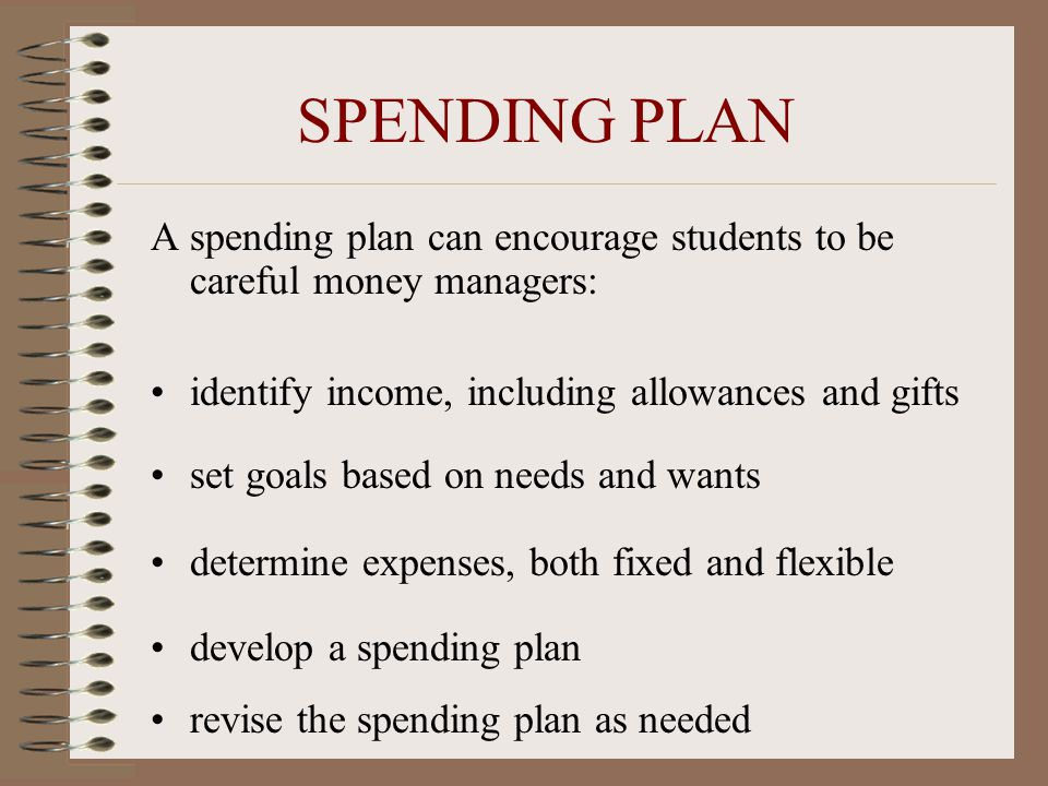 SPENDING PLAN A spending plan can encourage students to be careful money managers: identify income, including allowances and gifts.