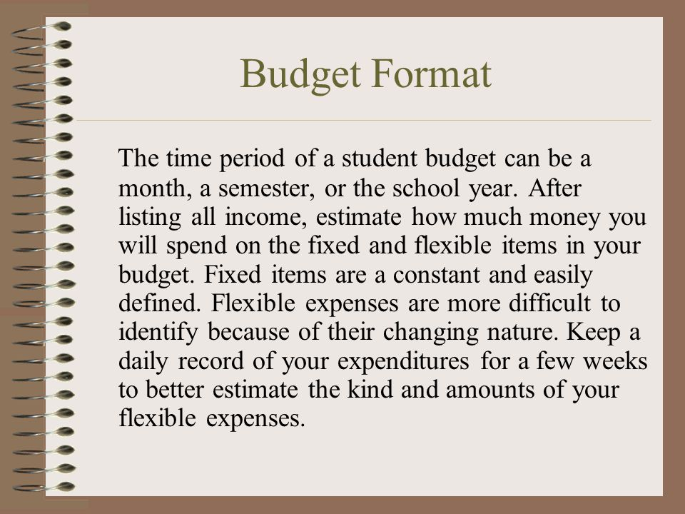 Budget Format