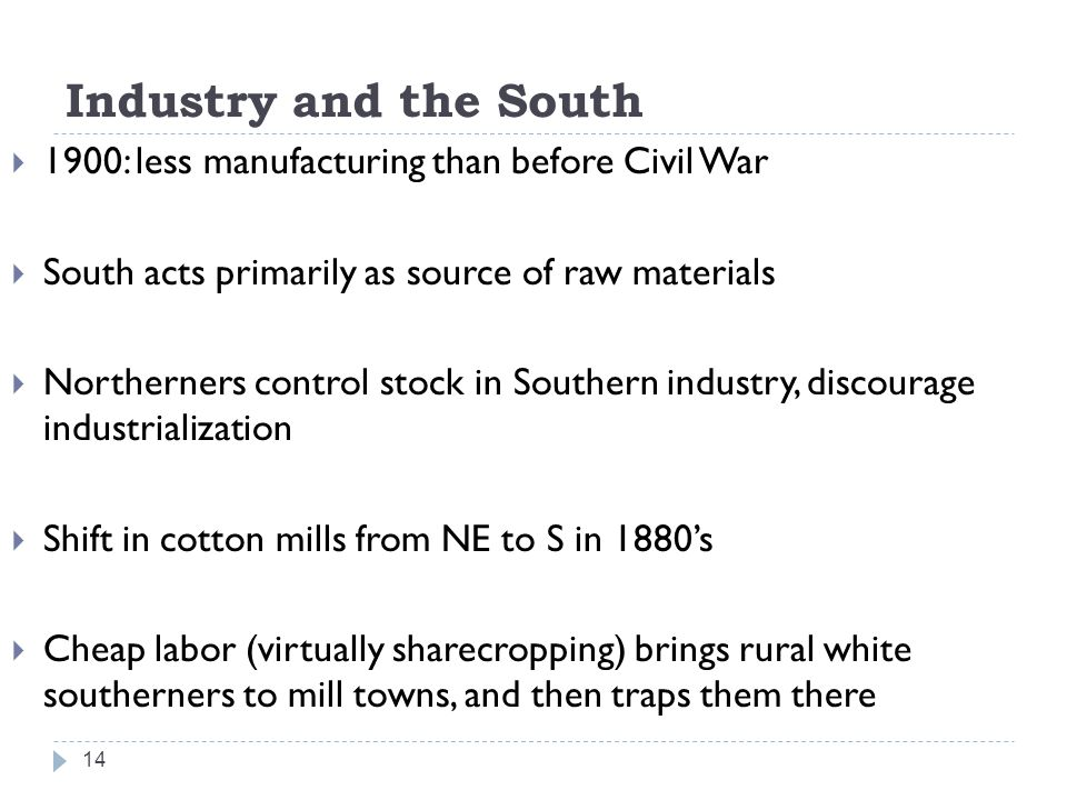 Industry and the South 1900: less manufacturing than before Civil War