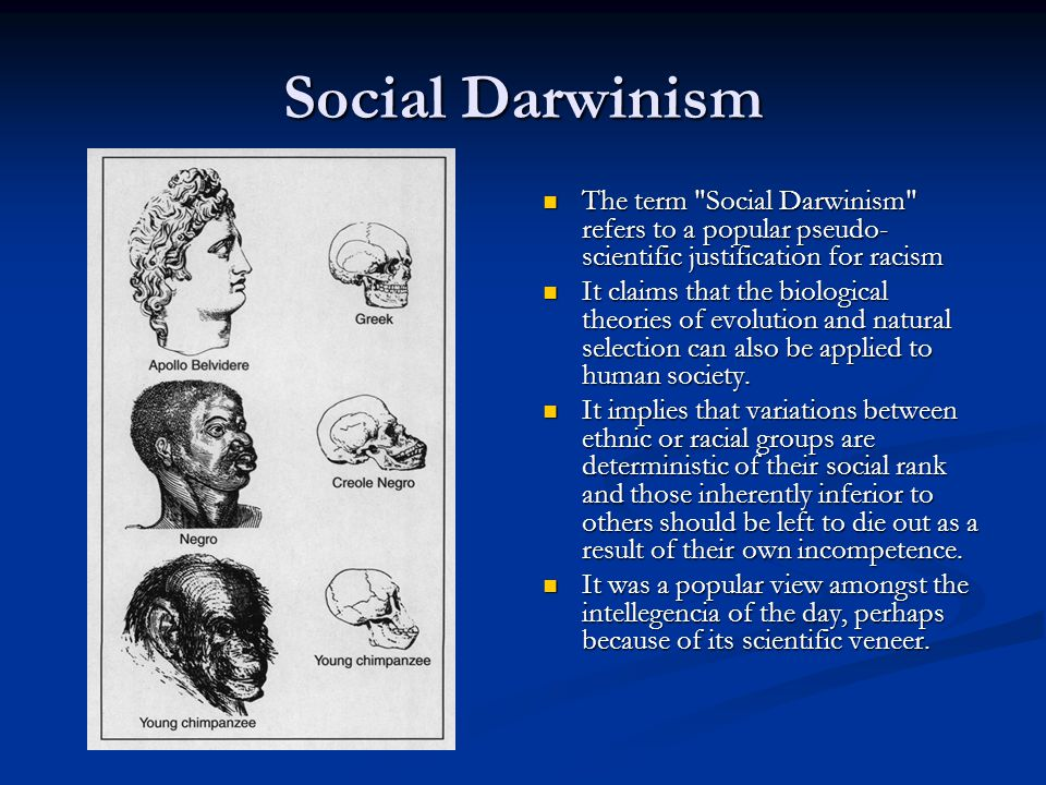 Social Darwinism The term Social Darwinism refers to a popular pseudo-scientific justification for racism.