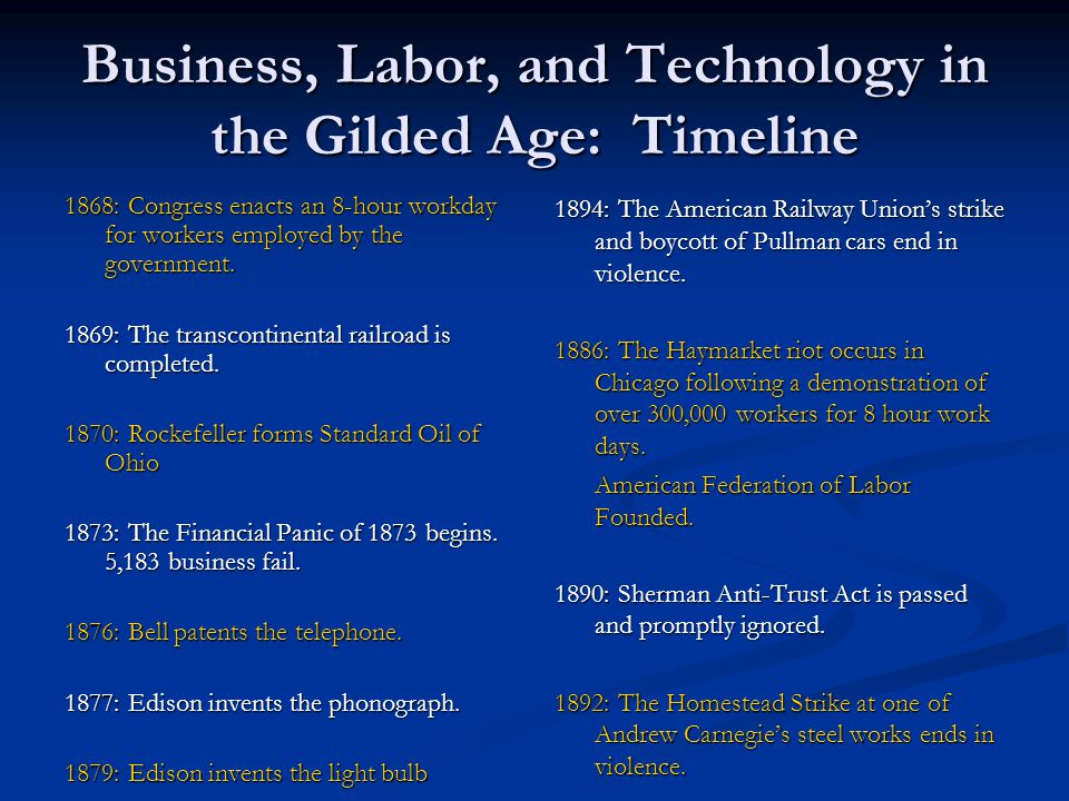 Business, Labor, and Technology in the Gilded Age: Timeline