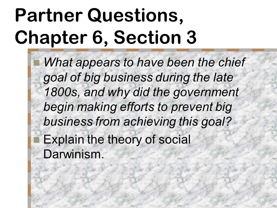 Partner Questions, Chapter 6, Section 3