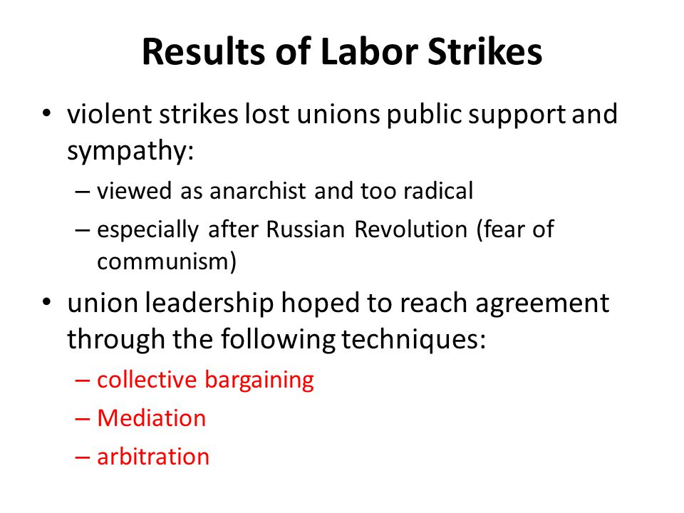 Results of Labor Strikes