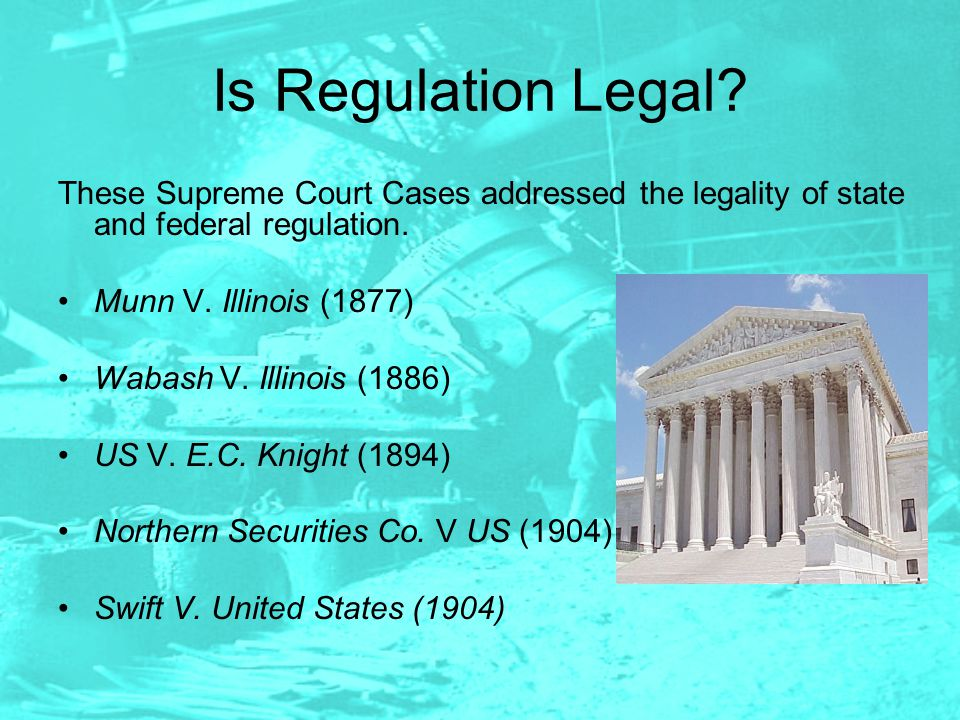 Is Regulation Legal These Supreme Court Cases addressed the legality of state and federal regulation.