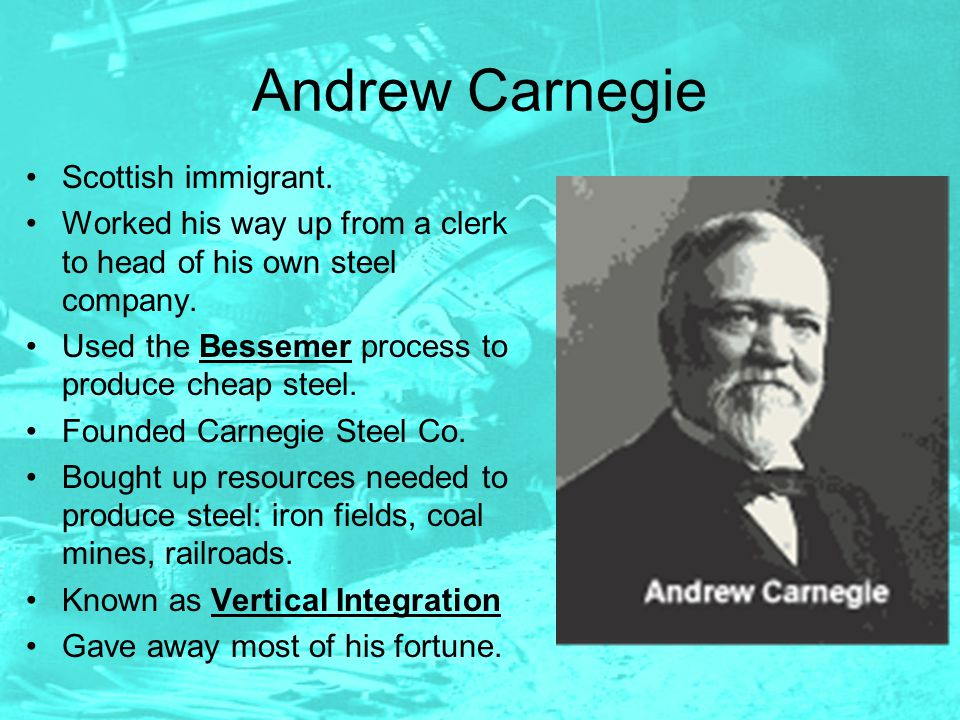 an analysis john d rockefeller and the us steel company founded by andrew carnegie The tycoons: how andrew carnegie, john d rockefeller, jay gould, and j p morgan invented the american supereconomy by charles r morris an original and compelling portrait of how four determined men ascended to unrivaled wealth, productivity, and world dominance after the civil warwhat.
