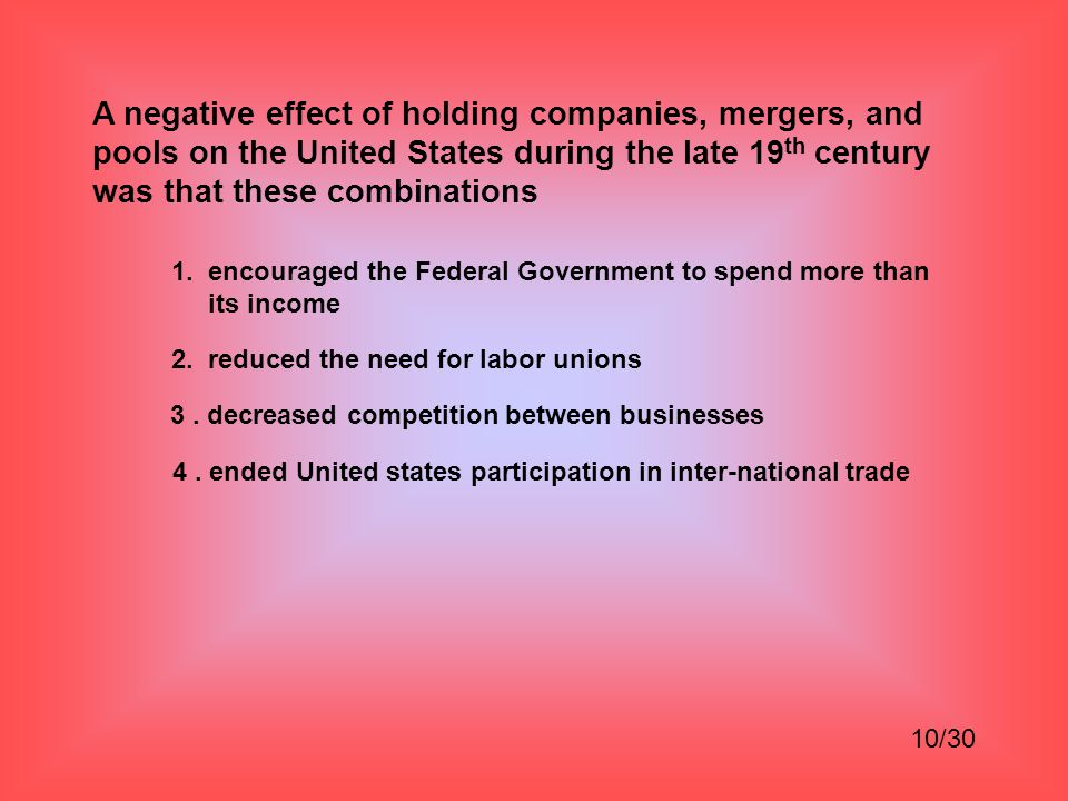 A negative effect of holding companies, mergers, and