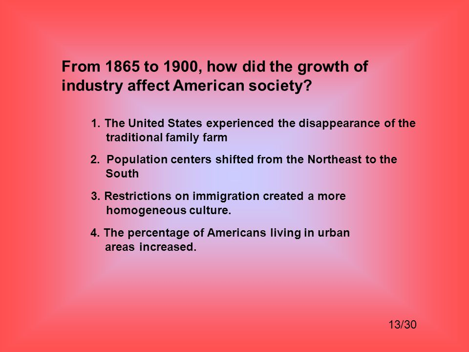 From 1865 to 1900, how did the growth of industry affect American society