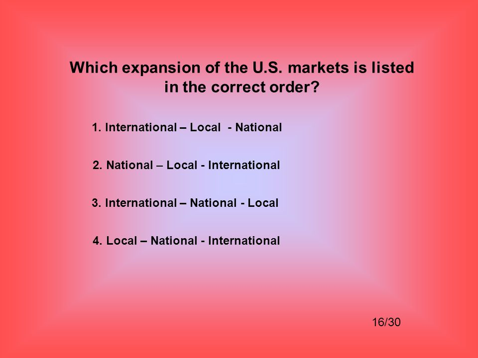 Which expansion of the U.S. markets is listed in the correct order