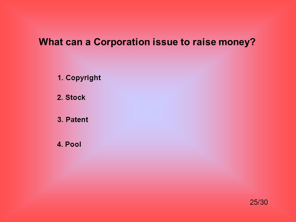 What can a Corporation issue to raise money