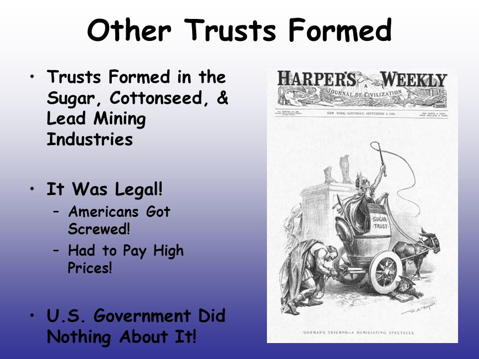 Other Trusts Formed Trusts Formed in the Sugar, Cottonseed, & Lead Mining Industries. It Was Legal!