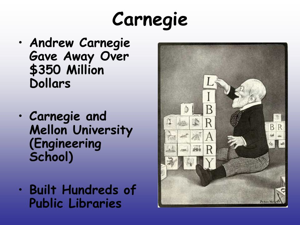 Carnegie Andrew Carnegie Gave Away Over $350 Million Dollars