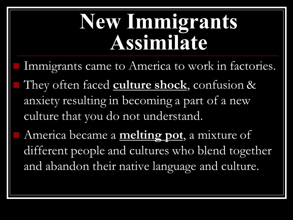 New Immigrants Assimilate