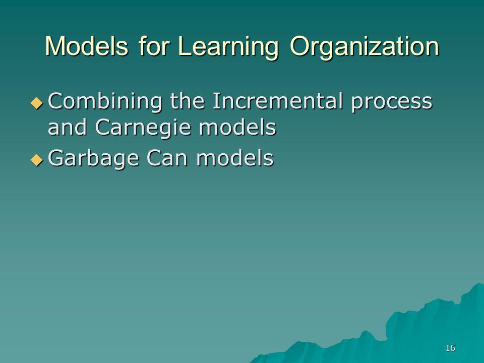 Models for Learning Organization