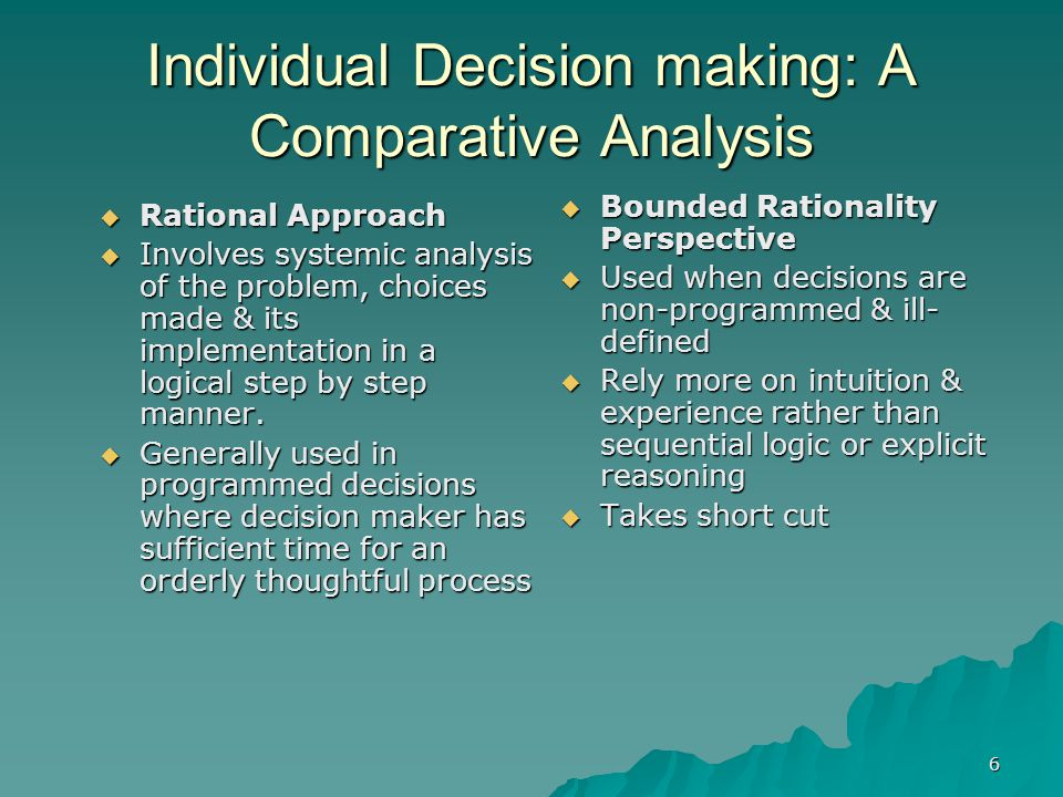 Individual Decision making: A Comparative Analysis