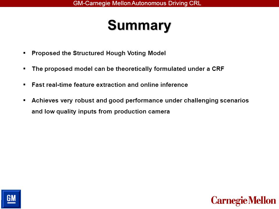 Summary Proposed the Structured Hough Voting Model