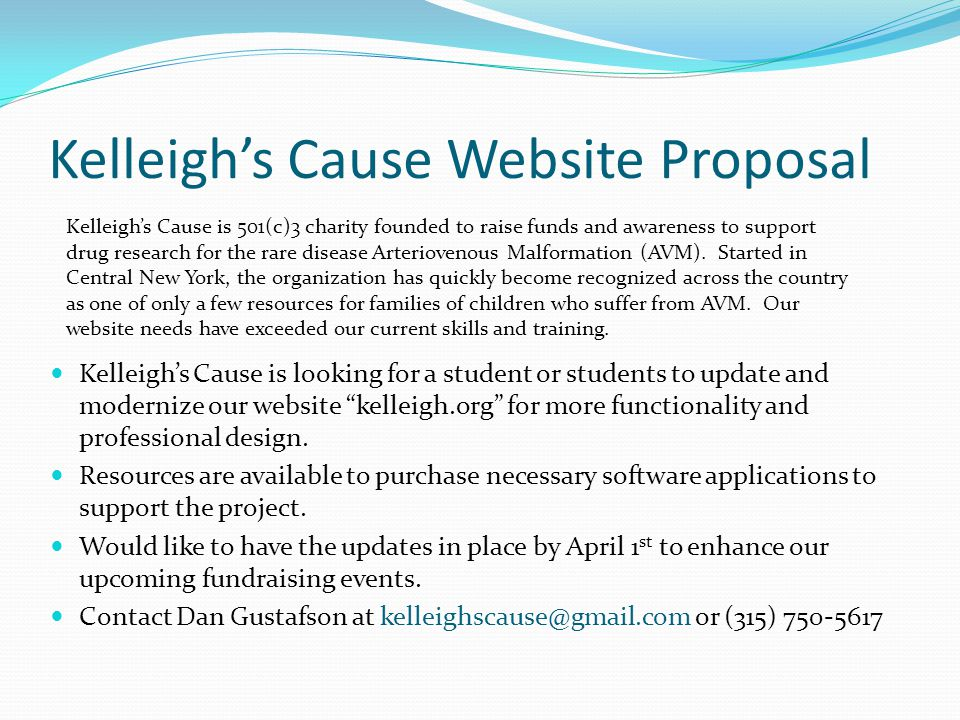Kelleigh's Cause Website Proposal