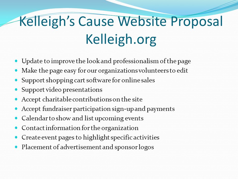 Kelleigh's Cause Website Proposal Kelleigh.org