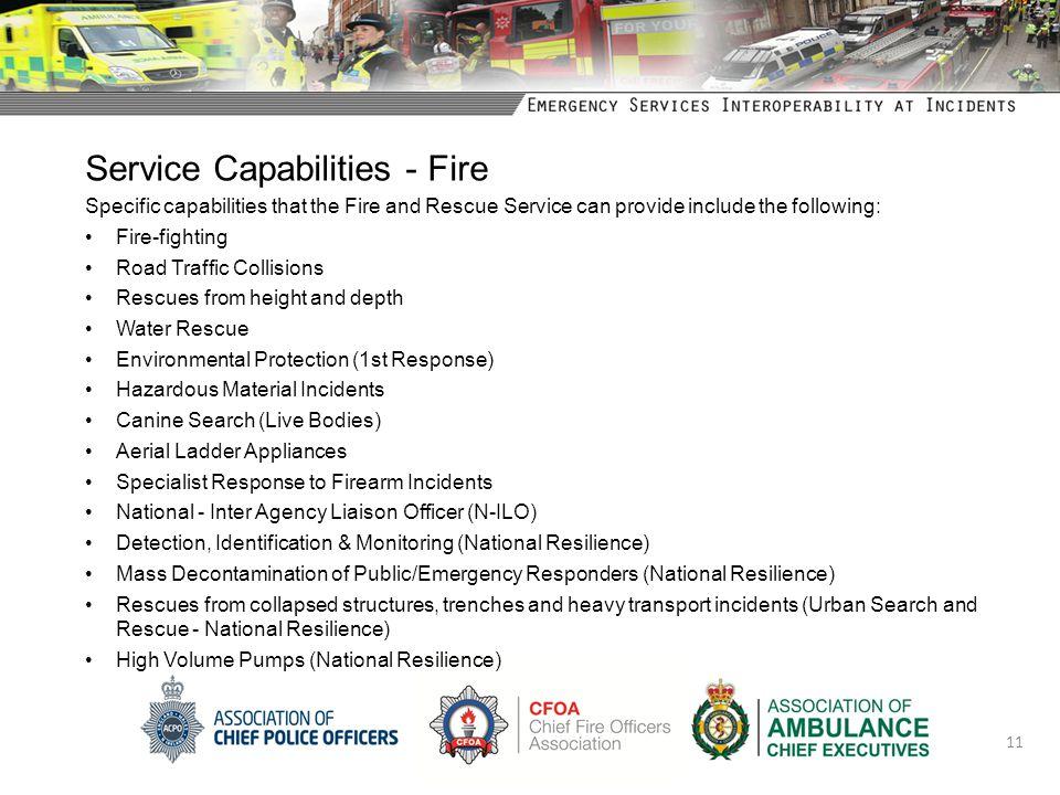 Service Capabilities - Fire