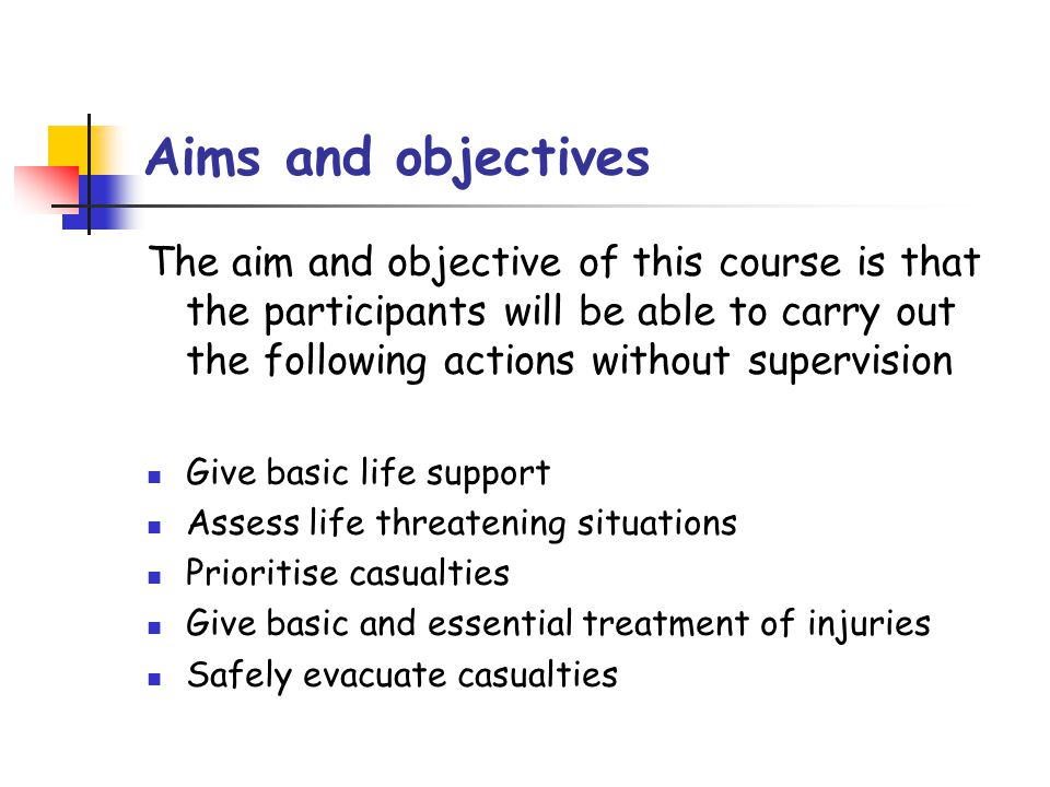 aims objectives for training Learning objectives every program of instruction, course, or training activity begins with a goal this goal can be broken down into specific goals, or learning objectives, which are concise statements about what students will be able to do when they complete instruction.