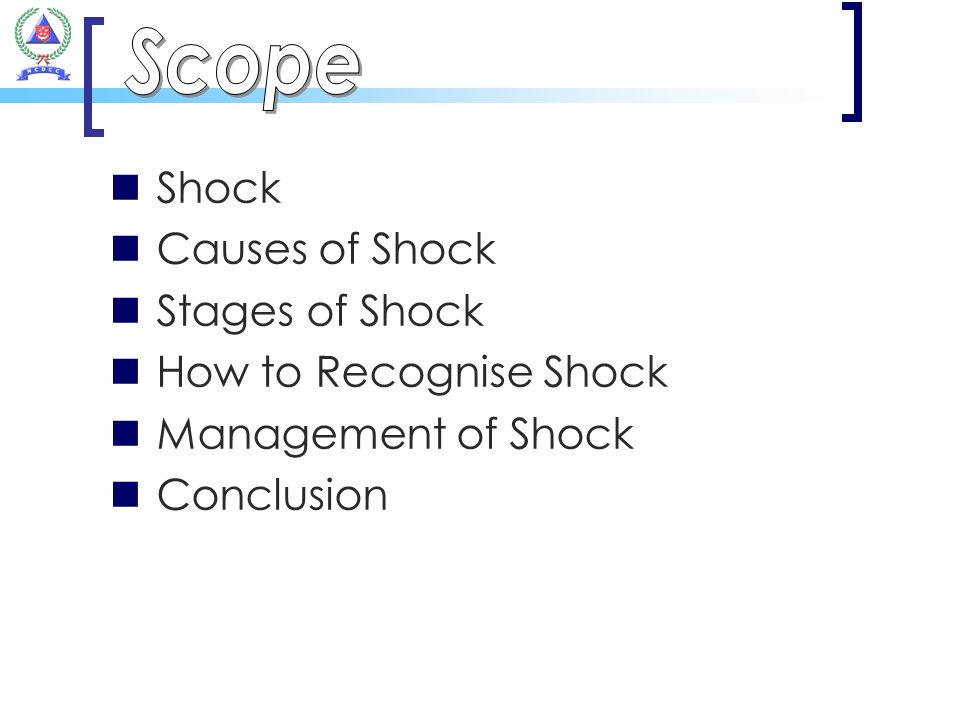 Scope Shock Causes of Shock Stages of Shock How to Recognise Shock