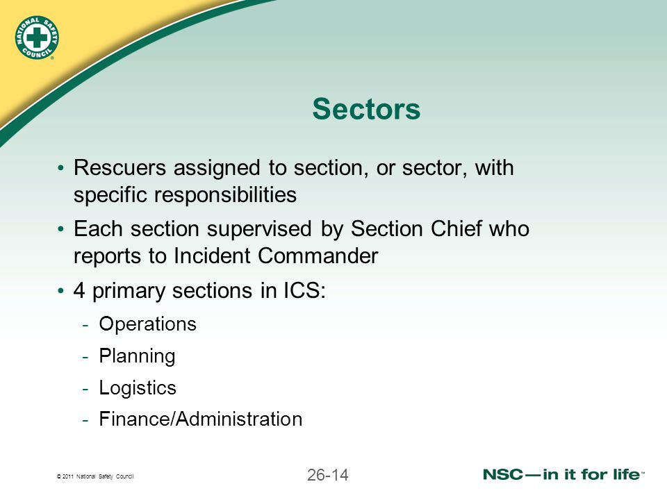 Sectors Rescuers assigned to section, or sector, with specific responsibilities.