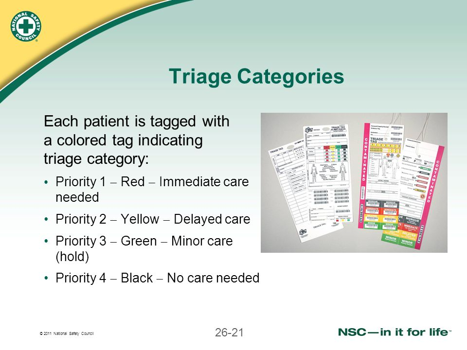 Triage Categories Each patient is tagged with a colored tag indicating triage category: Priority 1  Red  Immediate care needed.