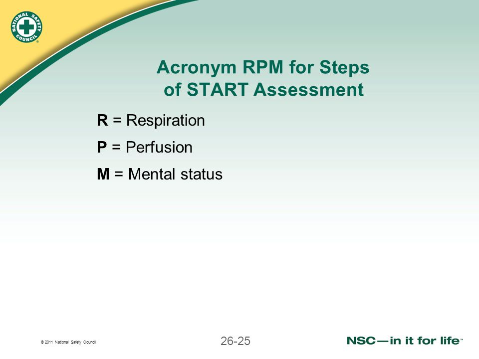 Acronym RPM for Steps of START Assessment