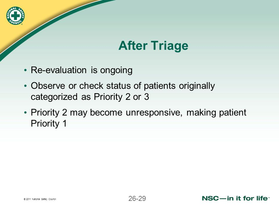 After Triage Re-evaluation is ongoing