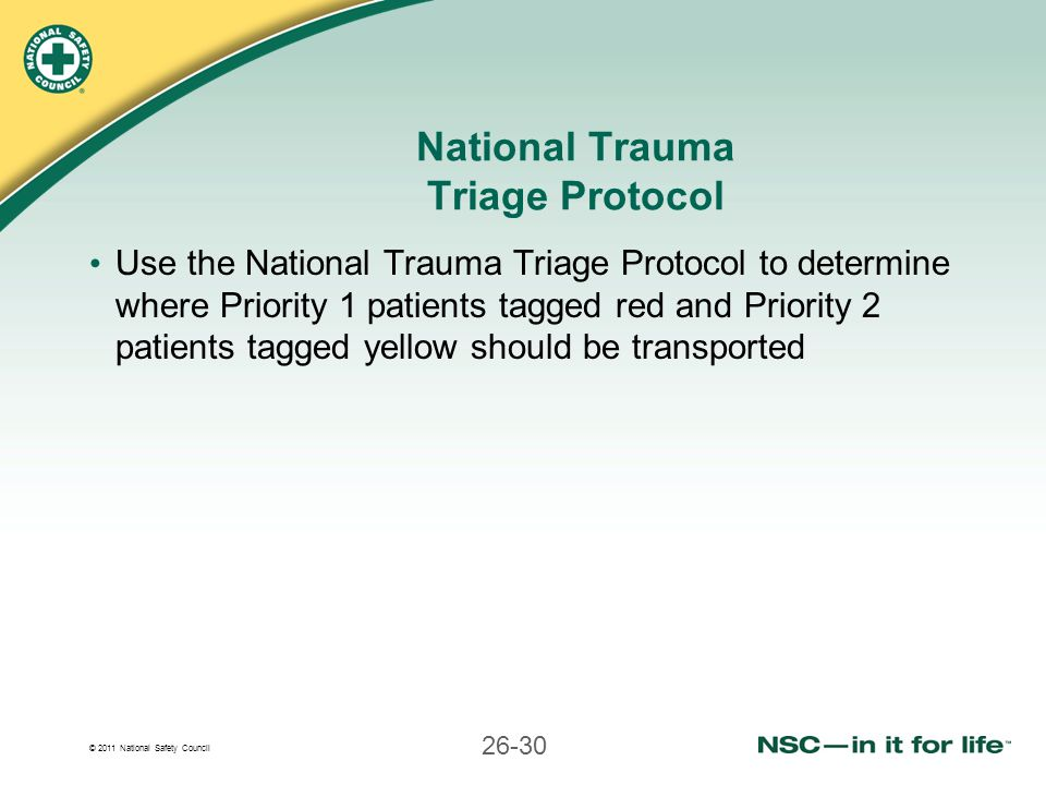 National Trauma Triage Protocol