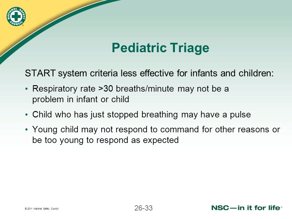 Pediatric Triage START system criteria less effective for infants and children: