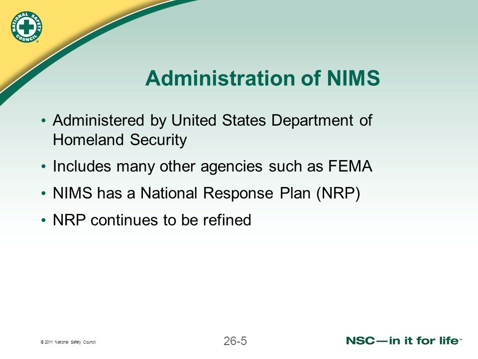 Administration of NIMS