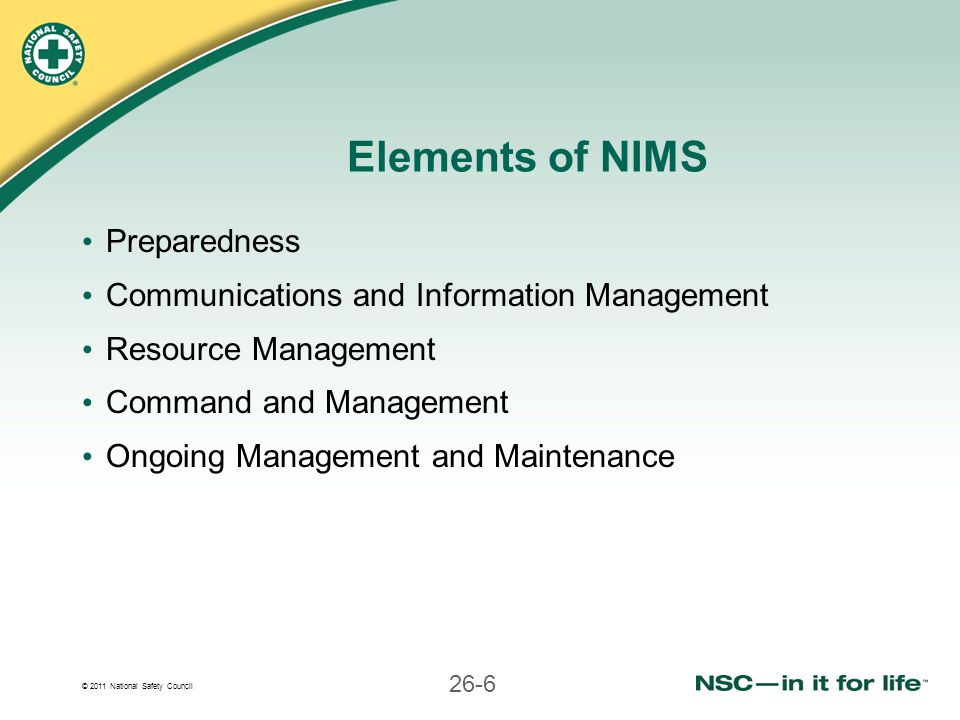 Elements of NIMS Preparedness