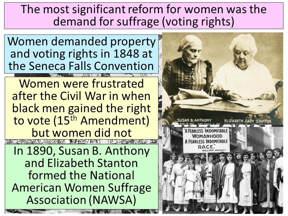 The most significant reform for women was the demand for suffrage (voting rights)