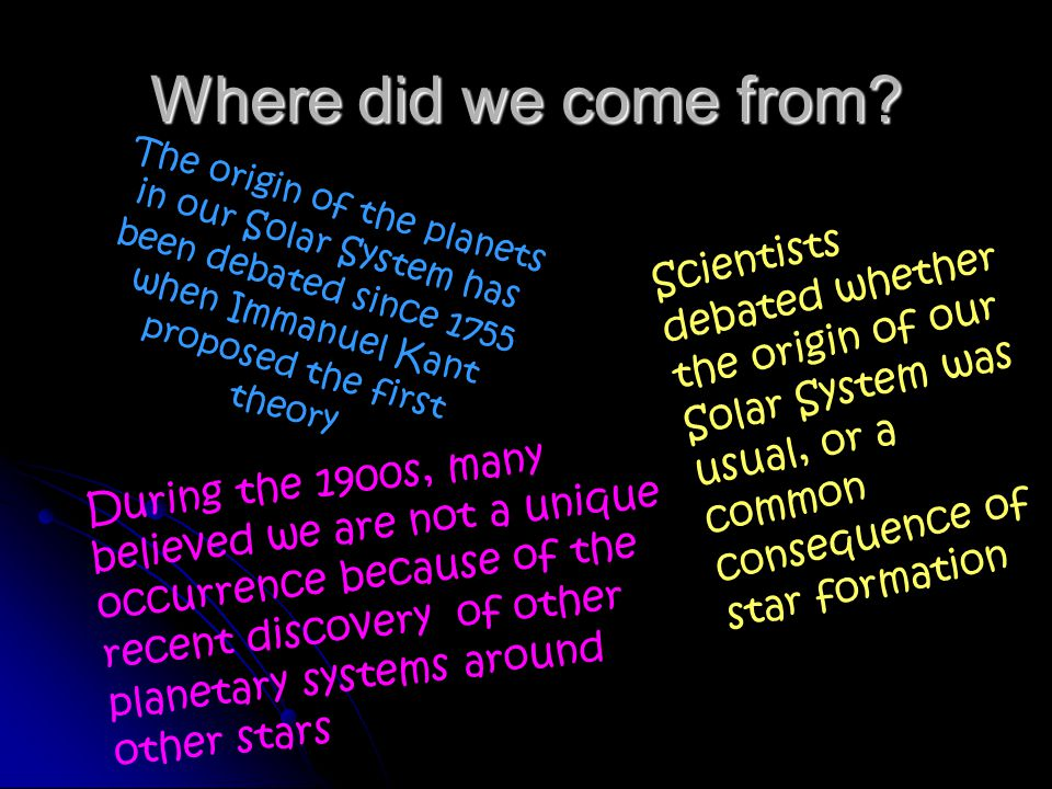 Where did we come from The origin of the planets in our Solar System has been debated since 1755 when Immanuel Kant proposed the first theory.