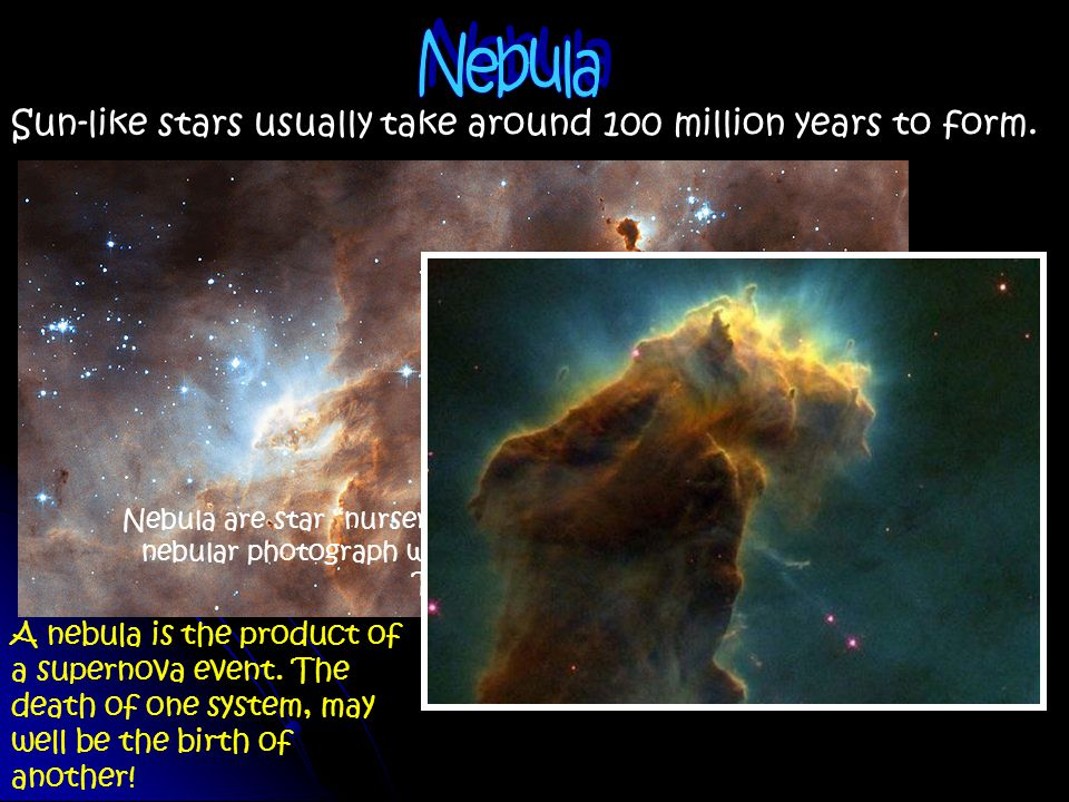Nebula Sun-like stars usually take around 100 million years to form.