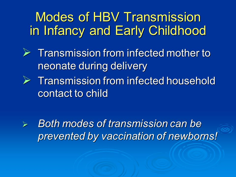Modes of HBV Transmission in Infancy and Early Childhood